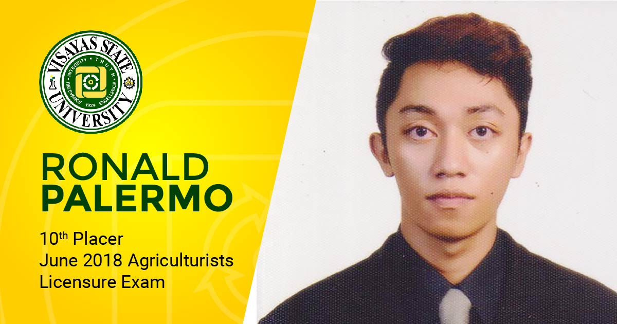 TOP 10. Ronald Palermo is one of the topnotchers of the June 2018 board exam for agriculturists.