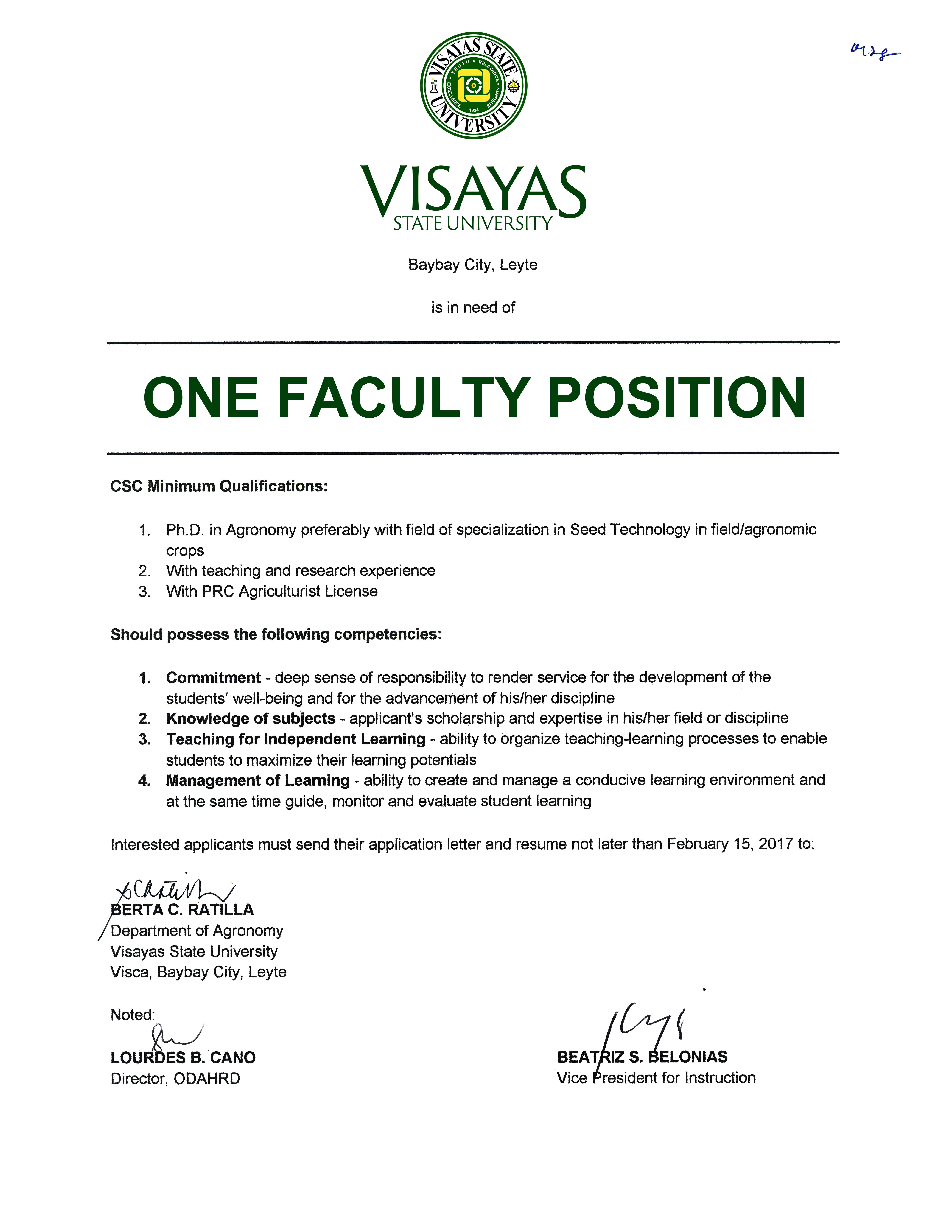 1 faculty position in agronomy