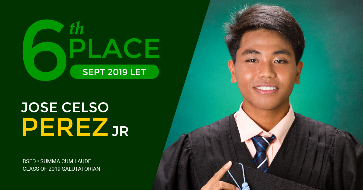 SALUTATORIAN. Jose Celso Perez, Jr. graduated summa cum laude with a bachelor's degree in secondary education.