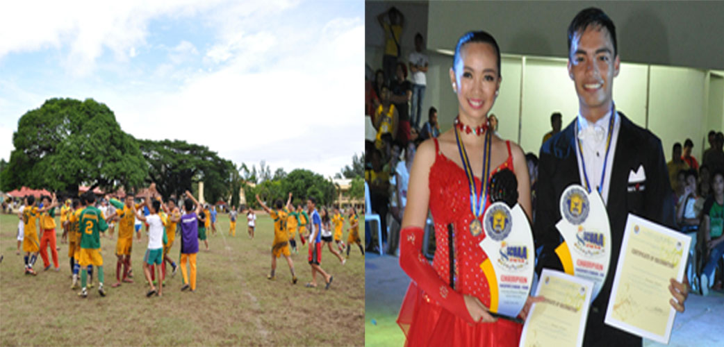 (Left Photo) The jubilant VSU Soccer Football Team after defeating the UEP kickers in the championship bout at the last day of the SCUAA-8 Meet.  (Right Photo) Gelli Anne S. Alcuino and Joel E. Conde, champion in the Dancesports Modern Standard Discipline.
