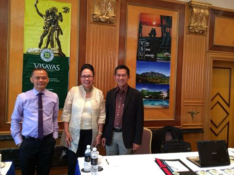 Dr. Edgardo Tulin, together with Professor Rotacio Gravoso and CHED Chairperson, Patricia Licuanan at the Philippine Education Fair