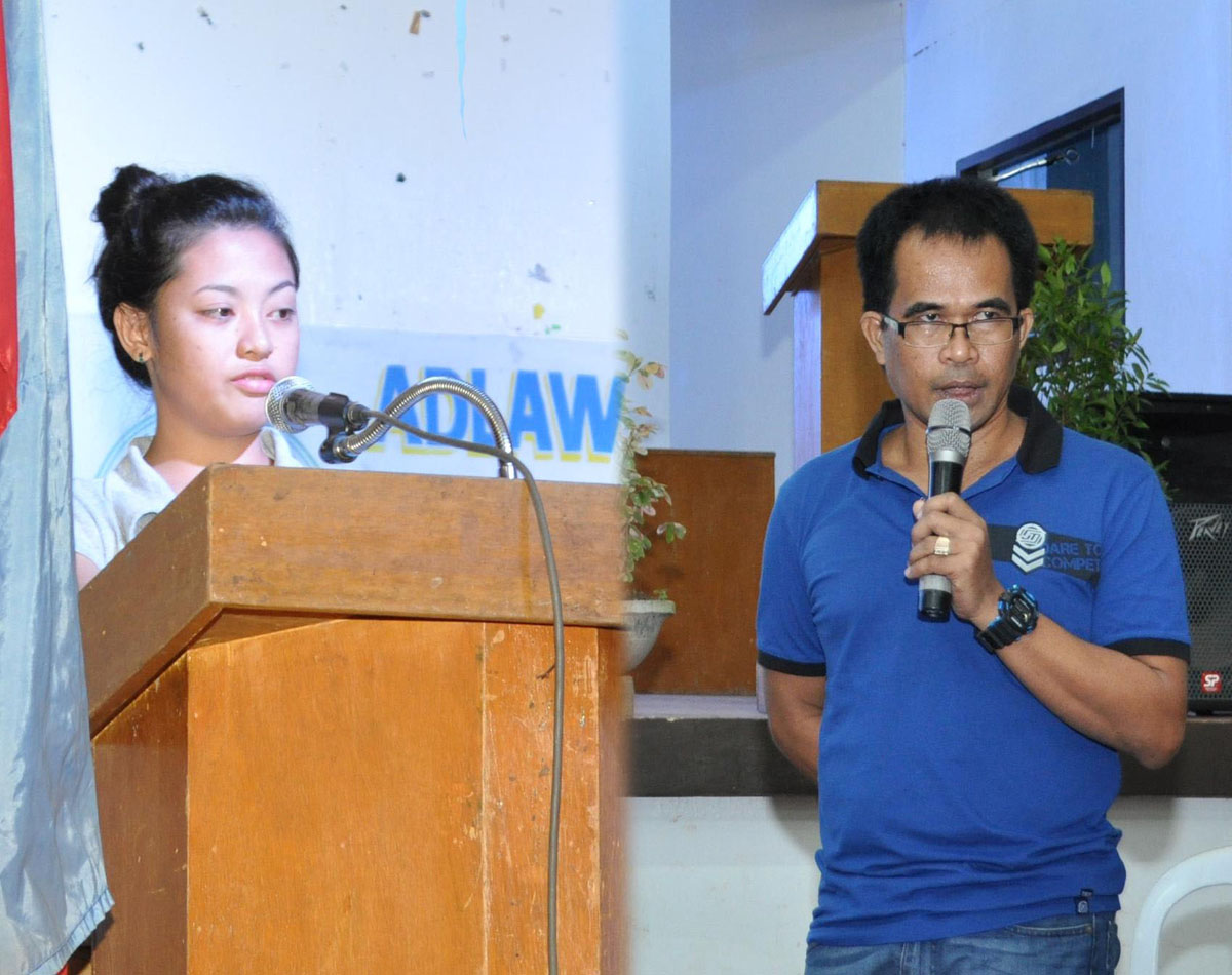 L-R) Ms. Frencher B. Albarico, a third year BS in Agricultural Engineering student, and Dr. Teofanes A. Patindol, Associate Professor of the College of Forestry and Environmental Science, sharing their experiences as Super Typhoon Yolanda survivors.